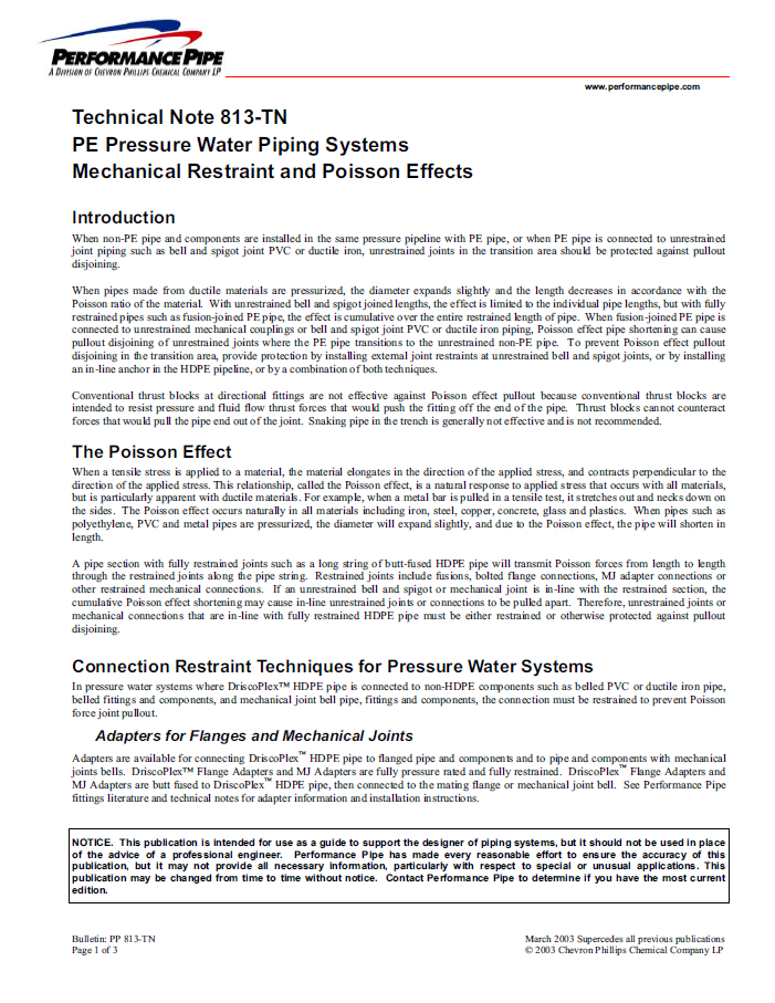 Technical notes for PE pressure water piping systems