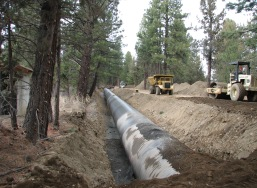 Installation of large diameter irrigation pipe